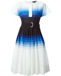 Jonathan Saunders Belted Striped Dress - Lyst