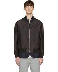 3.1 Phillip Lim Black Silk Layered Blazer And Bomber Jacket - Lyst