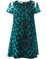 Versus  Safety Pin Leopard Print Shift Dress - Lyst
