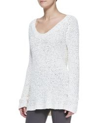 Donna Karan New York Silk Knit Longsleeve Vneck Top - Lyst