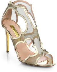 Rupert Sanderson Estelle Leather & Mesh Cutout Sandals - Lyst