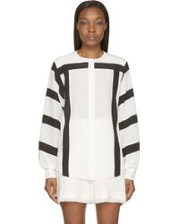 Chloé Milk White And Black Striped Crpe De Chine Blouse - Lyst
