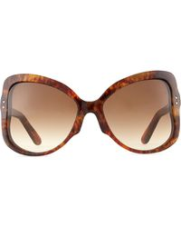 Valentino Oversized Butterfly Sunglasses Brown Tortoise - Lyst