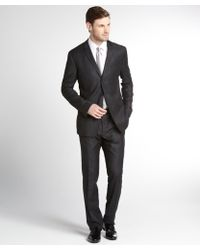 Dolce & Gabbana Dark Grey Striped Wool 3-Button Suit With Flat Front Pants - Lyst