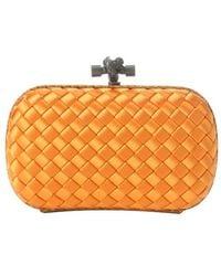 Bottega Veneta Orange Intercciato Satin and Snakeskin Trim Knot Clutch - Lyst