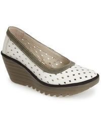 Fly London 'Yeo' Perforated Leather Wedge Pump - Lyst