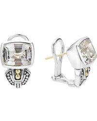 Lagos   18k Gold And Sterling Silver Glacier Huggie Earrings With White Topaz   Lyst