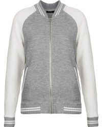 Topshop Striped Rib Jersey Bomber Jacket Grey - Lyst