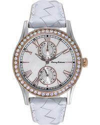 Tommy Bahama - Women's Swiss White Woven Leather Strap Watch 40mm Tb2158 - Lyst