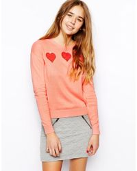 Asos Sweater with Lace Hearts - Lyst