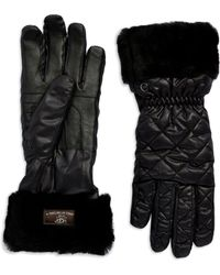 Ugg Fur Cuff Gloves - Lyst