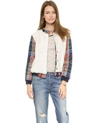 Ace & Jig - Sherpa Bomber - Cabin Plaid/Natural - Lyst