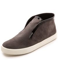 Vince Patton Slip On Suede Sneakers  Graphite - Lyst
