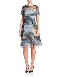 Carolina Herrera | Liquid Print Silk Organza Dress | Lyst