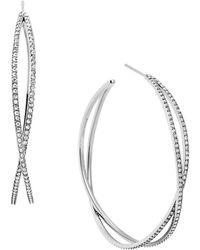 Michael Kors - Glitz And Silvertone Crisscross Hoop Earrings, 1.75In - Lyst