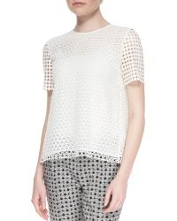 Tory Burch Crescent Guipure Lace Tee - Lyst