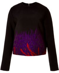 Elie Saab Cardinal and Amethyst Floral Brocade Top - Lyst