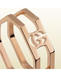Gucci Rose Gold Running G Ring - Lyst