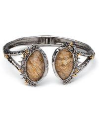 Alexis Bittar Crystal Studded Spur Trim Hinge Bracelet With Custom Jasper Doublets silver - Lyst
