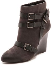 Rebecca Minkoff Maggie Wedge Buckle Booties Charcoal - Lyst