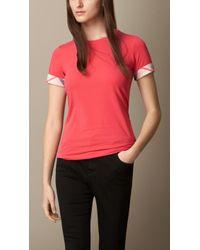 Burberry Check Cuff Stretch Cotton T-shirt - Lyst