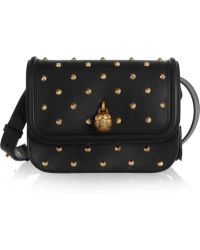 Alexander McQueen Padlock Studded Leather Shoulder Bag - Lyst