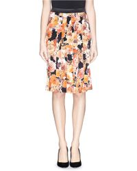 Givenchy Floral Butterfly Print Satin Pleat Skirt orange - Lyst