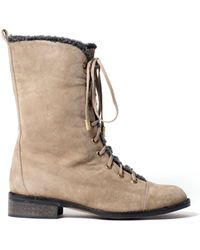 Charlotte Ronson Mj Suede Midcalf Military Boot - Lyst