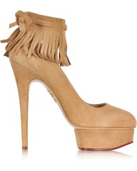 Charlotte Olympia Sundance Dolly Wheat Suede Fringe Platform Pump - Lyst