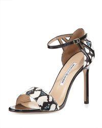 Manolo Blahnik Riah Snakeskin Ankle-strap Sandal - Lyst