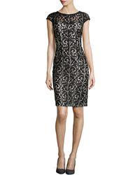 ML Monique Lhuillier Cap Sleeve Lace Overlay Cocktail Dress - Lyst