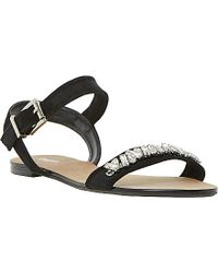 Dune Neeve Jewel And Grosgrain Leather Sandals - Lyst