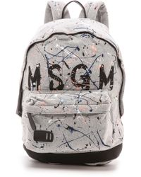 MSGM - Painted Backpack  Grey - Lyst