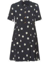 Saint Laurent | Bow Tie-embellished Daisy-print Dress | Lyst