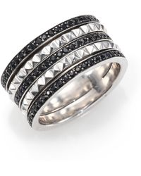 Stephen Webster Superstud Black Sapphire & Sterling Silver Stacked Band Ring - Lyst