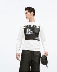 Zara White Printed Sweatshirt - Lyst