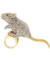 Betsey Johnson - Goldtone Mouse Ring - Lyst