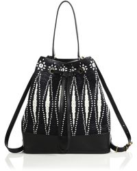 Tory Burch Bicolor Woven Convertible Bucket Bag - Lyst
