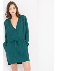 Mango G V-Neckline Dress - Lyst