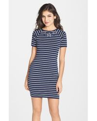 French Connection Embellished Stripe Body-Con Dress - Lyst