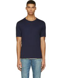 Visvim Navy Blue Trimmed Sublig T_shirt - Lyst
