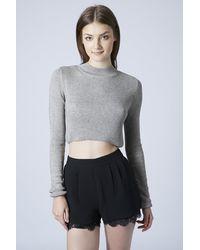 Topshop Womens Funnel Rib Crop Top  Grey Marl - Lyst
