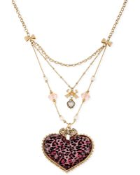 Betsey Johnson Gold-tone Pink Leopard Heart Three-row Necklace - Lyst