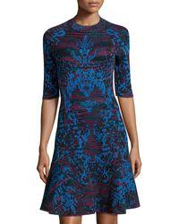 M Missoni Striped 3/4-Sleeve Flared Dress - Lyst