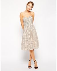 Asos Bandeau Polka Dot Midi Dress - Lyst