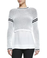 Helmut Lang Modern Mesh Pullover With Taping Details - Lyst