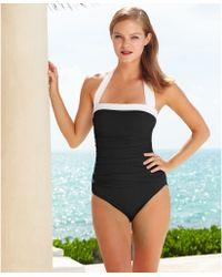 Lauren by Ralph Lauren Ruched Tummy-Control Halter One-Piece Swimsuit - Lyst