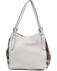 Burberry Canterbury Housecheck Leather Tote - Lyst