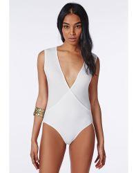 Missguided Sleeveless Wrap Over Bodysuit White - Lyst
