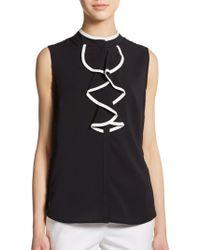 Calvin Klein Sleeveless Ruffle-Front Top - Lyst